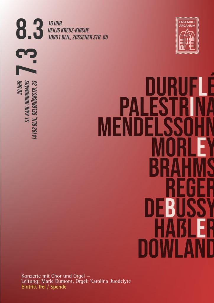"""Plakat für Konzert """"Liebe"""" des Ensemble ARCANUM (gestaltet von Jakob Schmidt)"""