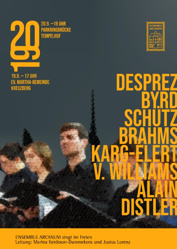Plakat für Konzert des Ensemble ARCANUM im Freien (gestaltet von Jakob Schmidt)